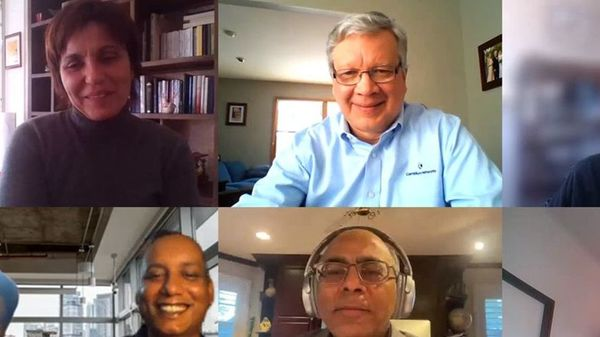 Atul Bhatnagar, bottom center, on a video call with several Cambium Networks team members. (Cambium Networks (Via WSJ))