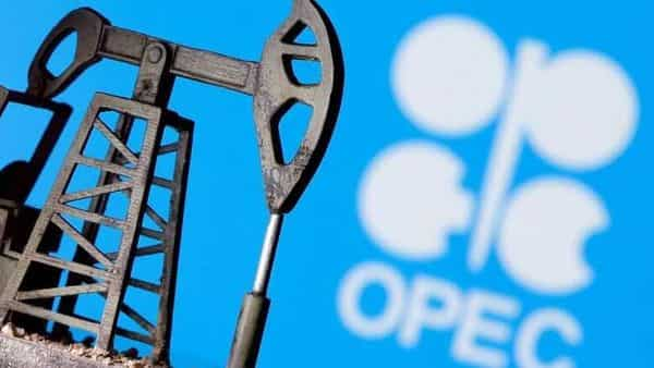 FILE PHOTO: A 3D-printed oil pump jack is seen in front of displayed OPEC logo in this illustration.  (REUTERS)