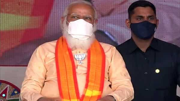 Prime Minister Narendra Modi during an election public rally. (ANI)