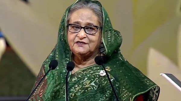 Bangladesh Prime Minister Sheikh Hasina speaks during the National Day program, in Dhaka on Friday. (ANI Photo)