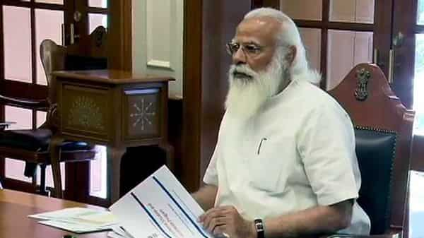 Prime Minister Narendra Modi chaired a high-level meeting to review the COVID19 situation and vaccination program, in New Delhi on Sunday. (ANI Photo)