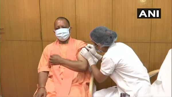 UP CM Yogi Adityanath gets the first dose of Covid shot today. (ANI)
