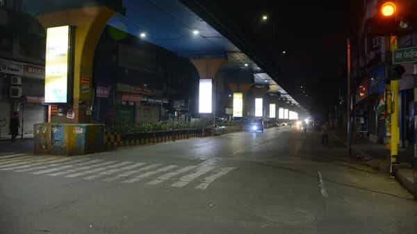 Empty streets during a night curfew