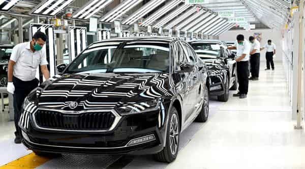 The new Skoda Octavia rolls out of the company's plant in Aurangabad, Maharashtra