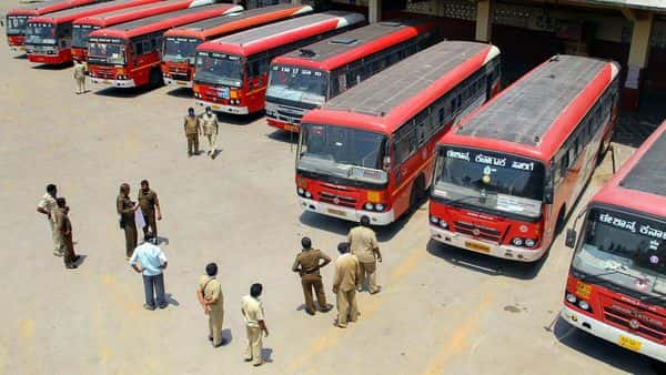 The protest is against the governments failure to implement a salary under the 6th Pay Commission for the RTC workers (PTI)