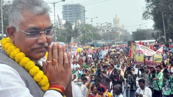 West Bengal BJP President Dilip Ghosh during a rally  (PTI)