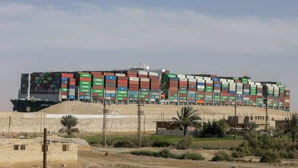 File Photo: The 1,300-foot Ever Given captured the world's attention when it ran aground in the Suez Canal on March 23, disrupting global trade (REUTERS)