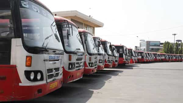 Buses parked at Mysore Road Satellite Bus Stand due to a strike called by KSRTC and BMTC, in Bengaluru, Karnataka, on Wednesday. (Hindustan Times)