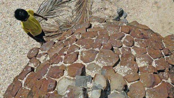 Hexagon-shaped volcanic rocks at St Mary's Island, near Udupi in Karnataka.