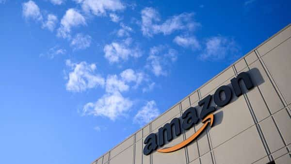 (FILES) In this file photo the Amazon logo at the 855,000-square-foot Amazon fulfillment center is seen in Staten Island (AFP)