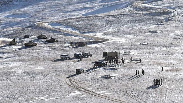 A file photo released by the Indian Army shows PLA soldiers and tanks during military disengagement along the LAC at the India-China border in Ladakh (Photo: AFP)