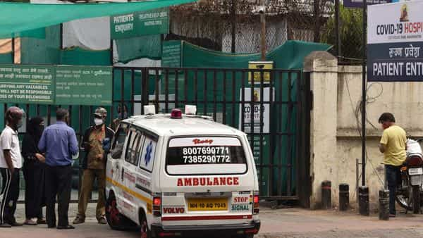 An ambulance stands at the gate of Jumbo Covid hospital in Pune, India, Thursday, April 8, 2021.  (AP)