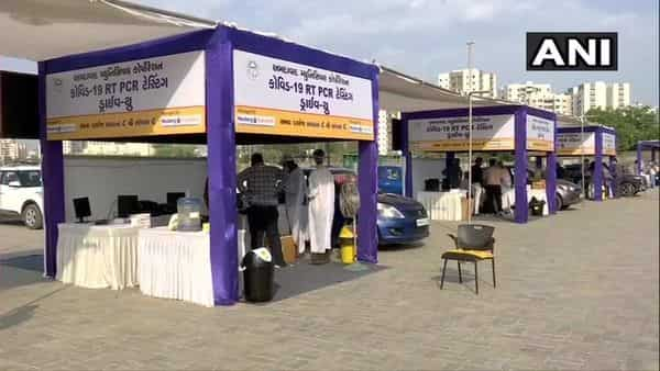 Drive-through RT-PCR testing launched at GMDC Ground in Ahmedabad (ANI)