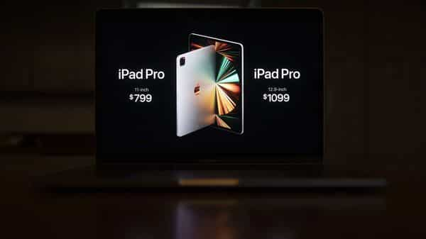 Pricing for the new Apple iPad Pro tablet computer during the Spring Loaded virtual product launch in Tiskilwa, Illinois, US (Bloomberg)