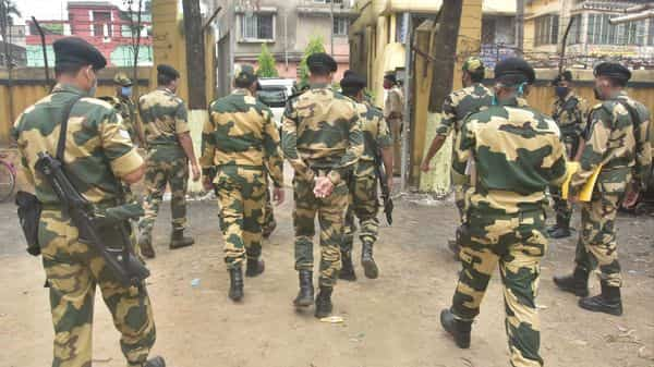 Security forces visit a polling booth to maintain security during the 6th phase of the West Bengal Assembly election at North Dumdum, in North 24 Parganas on Thursday. (ANI Photo)