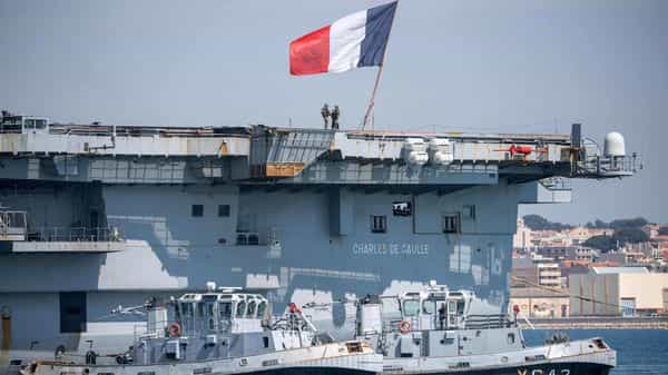 The nuclear-powered Charles de Gaulle with a displacement of 42,500 tonnes carries a crew of 1,200, 15.4% of whom are women. (AFP)