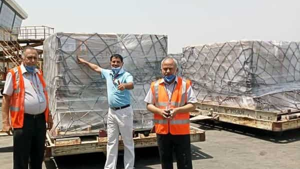 Oxygen Concentrators arrive at Delhi airport from the United States. (ANI Photo)