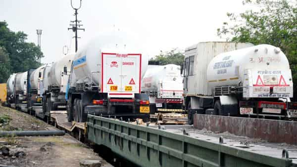 Oxygen Express with the oxygen tankers being sent to various Indian states in dire need of life-saving gas. (ANI Photo)