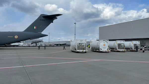 India Air Force's aircraft airlifts cryogenic oxygen containers from Frankfurt in Germany to Hindon airbase near Delhi.