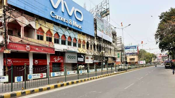 File photo. A deserted view of the Dak Bangalow road during a lockdown imposed in wake of rising Covid -19 cases, in Patna on Sunday.  (ANI)