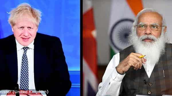 Prime Minister Narendra Modi and the Prime Minister of the United Kingdom, Boris Johnson at the INDIA-UK Virtual Summit, in New Delhi. (ANI)