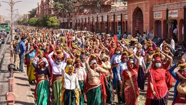 There was footage of women traditionally dressed up for kalash yatra to perform Jalabhishek at Navapura village in Gujarat's Sanand (PTI)