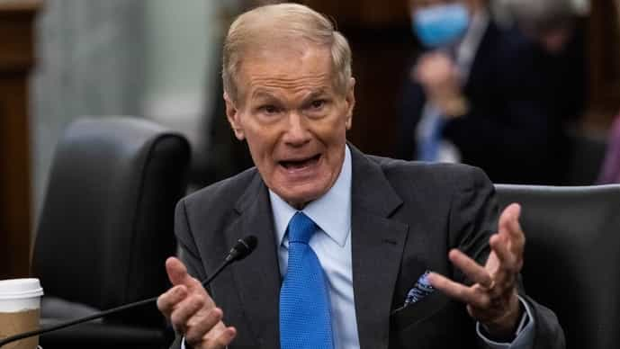 Bill Nelson during a Senate Commerce, Science and Transportation Committee confirmation hearing in Washington, D.C., U.S., on Wednesday, April 21, 2021.