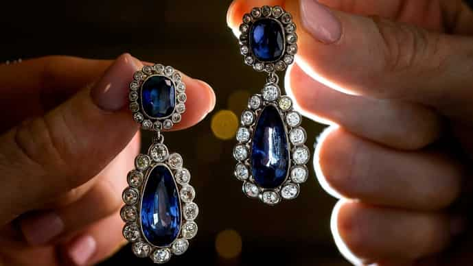An early 19th-century sapphire and diamond earrings, once owned by Napoleon's adopted daughter, Stephanie de Beauharnais, to be auctioned by Christies' on 12 May in Geneva.
