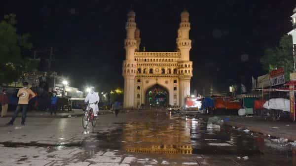 Hyderabad: A view of historic Chaar Minar during night curfew in Telangana. (PTI)