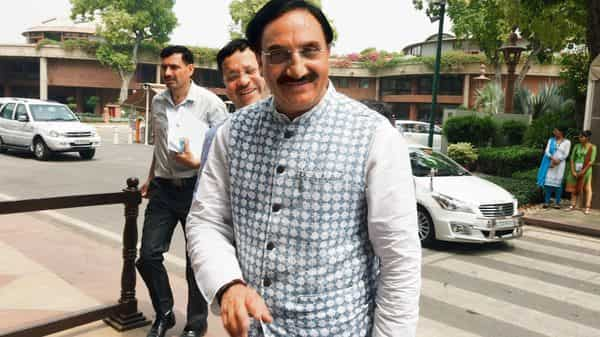 Union education minister Ramesh Pokhriyal will be meeting state education secretaries today on issues related to CBSE board exams, New Education Policy and the disruption caused to the education sector by covid-19. (HT)