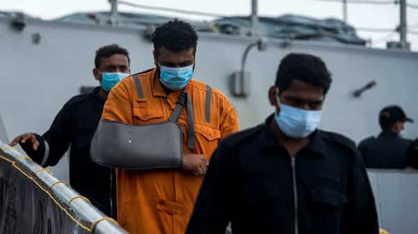 Mumbai, India - May 19, 2021: Crew members of ONGC's Barge P305 who were stranded in the Mumbai offshore due to Cyclone Tauktae (Pratik Chorge/HT PHOTO)