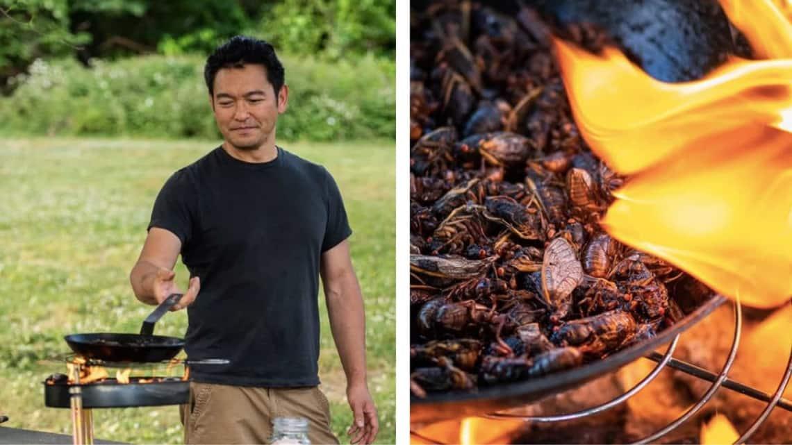 Chef Bun Lai cooking cicadas. (Rafeed Hussain, @cookinforpeace, Instagram)