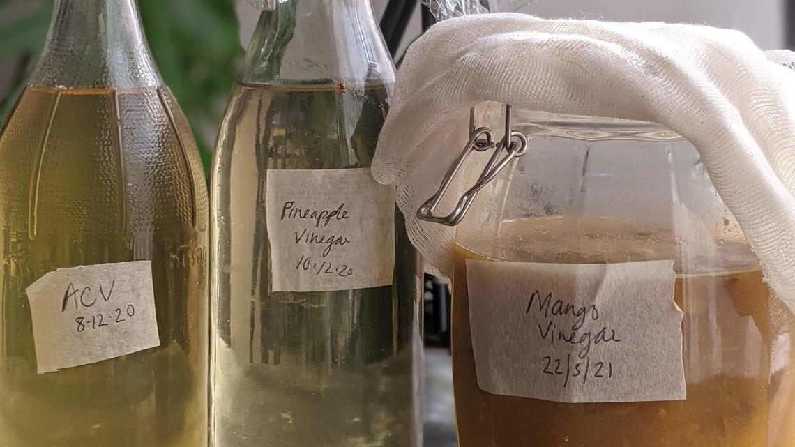 Nandita Iyer's homemade vinegars.