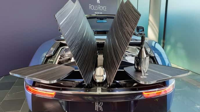 A hand-made Rolls-Royce described as 'the most refined picnic facility on earth' is unveiled at the company's factory in Goodwood, Britain.