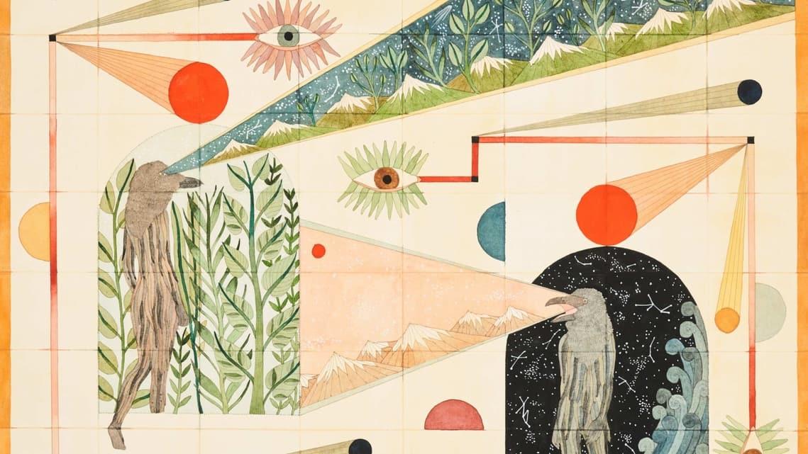 Detail from Rithika Merchant's 'Saudade', (2020) gouache, watercolour, ink on paper. Photo: courtesy Sovereign Art Foundation