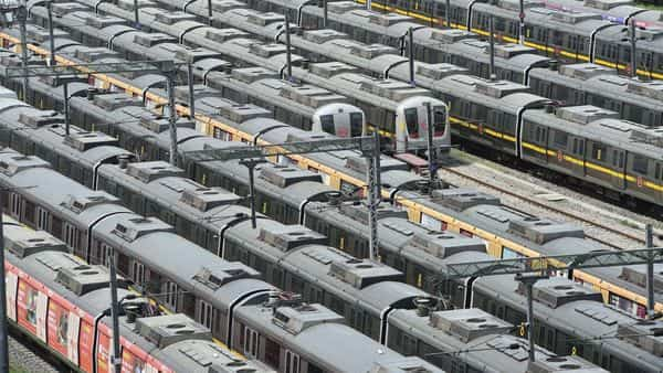 Metro trains parked at Timarpur Metro Yard during Covid-induced lockdown in New Delhi (PTI)