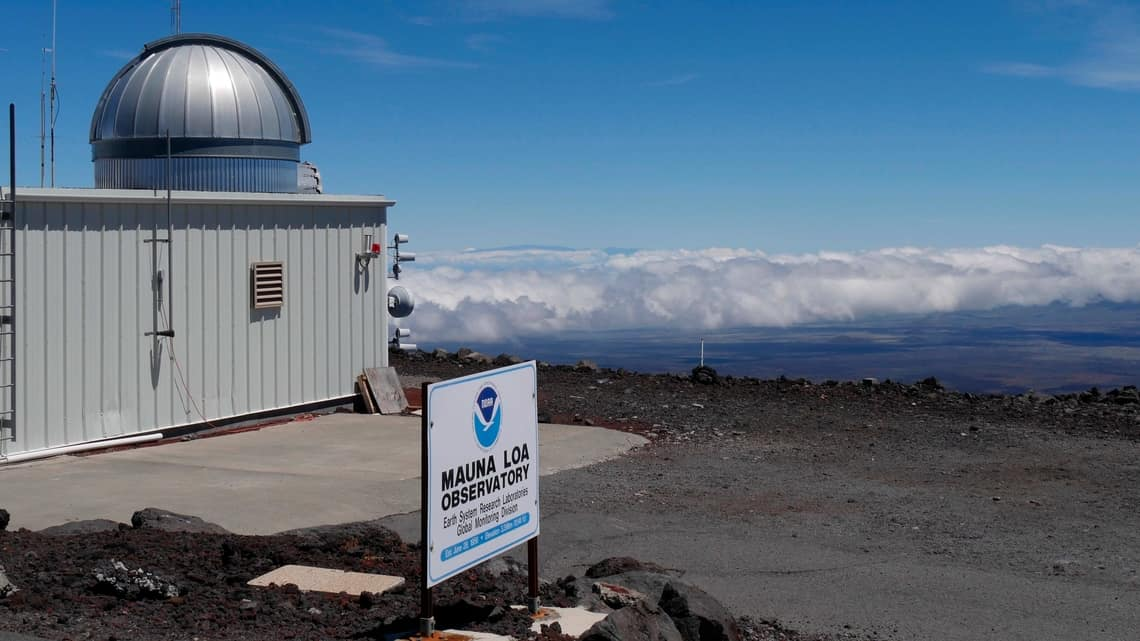 This 2019 photo provided by NOAA shows the Mauna Loa Atmospheric Baseline Observatory, high atop Hawaii's largest mountain in order to sample well-mixed background air free of local pollution. Heat-trapping carbon dioxide levels in the air peaked in May 2021, in amounts nearly 50% higher than when the industrial age began and they are growing at a record fast rate, scientists reported Monday, June 7, 2021.