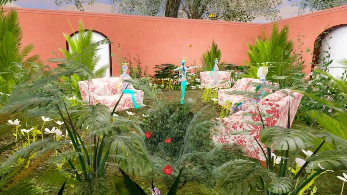 This computer generated image shows a Gucci virtual garden on Roblox.