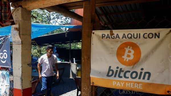 FILE PHOTO: Bitcoin banners are seen outside of a small restaurant at El Zonte Beach in Chiltiupan, El Salvador June 8, 2021.  (REUTERS)