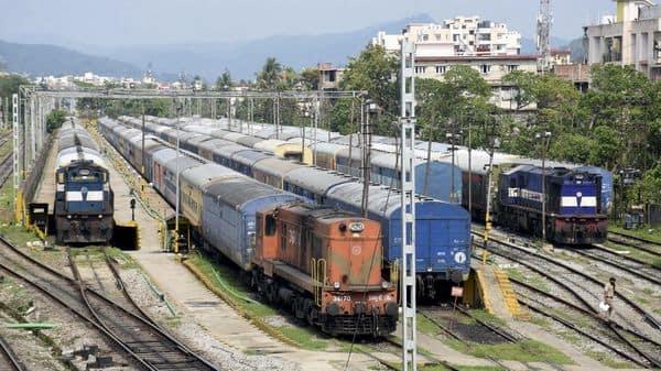 Trains parked at the Guwahati Railway Station in Guwahati. (PTI)