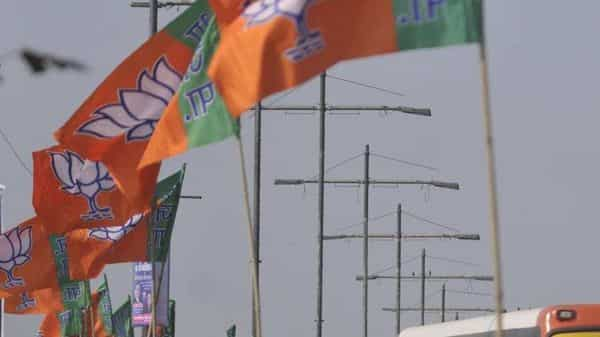 File photo: BJP flags. (HT)