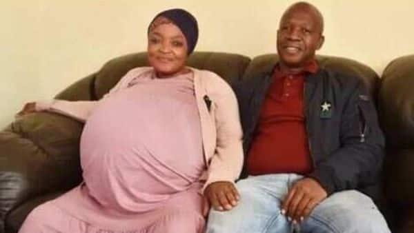 Gosiame Thamara Sithole with her husband Teboho Tsotetsi. (Twitter/ @HungryLionSA)