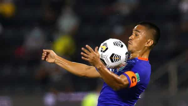 Chhetri, 36, scored all two goals in India's victory in the qualifying match for the 2022 FIFA World Cup and 2023 AFC Asian Cup. (REUTERS)