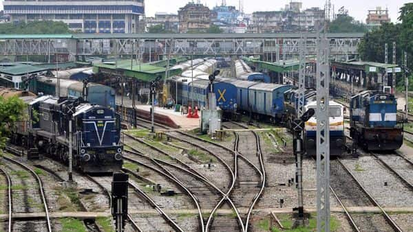 Trains parked at the Guwahati railway station. (ANI)