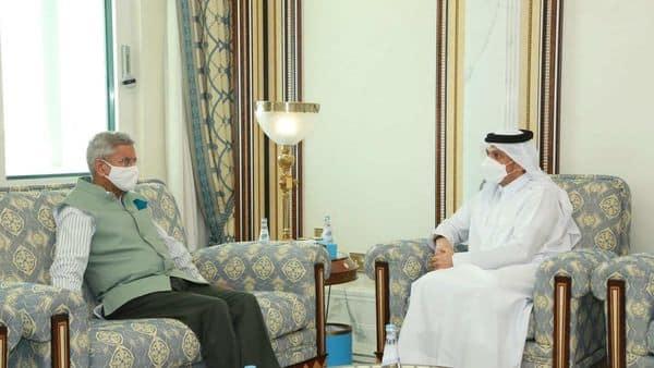 Indian foreign minister S. Jaishankar with Qatari counterpart Mohammed bin Abdulrahman Al-Thani in Doha.