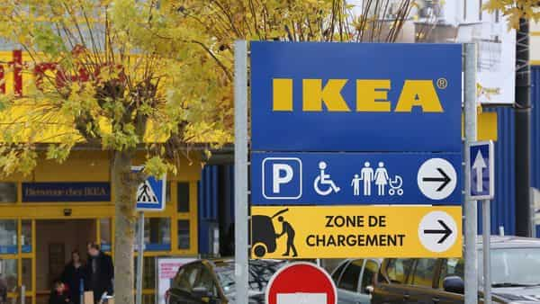 Customers leave an IKEA store in Plaisir, west of Paris. (File photo)
