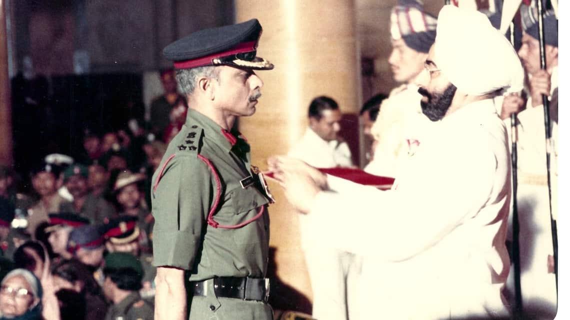 Major General Ian Cardozo, a veteran of the 1962, 1965 and 1971 wars, being awarded the Ati Vishist Seva Medal by the President at Rashtrapati Bhavan in January 1984.