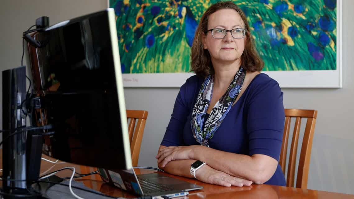 Elisabeth Bik, a microbiologist known for her work detecting photo manipulation in scientific publications, at her home office, on June 15, 2021 in Sunnyvale, California.