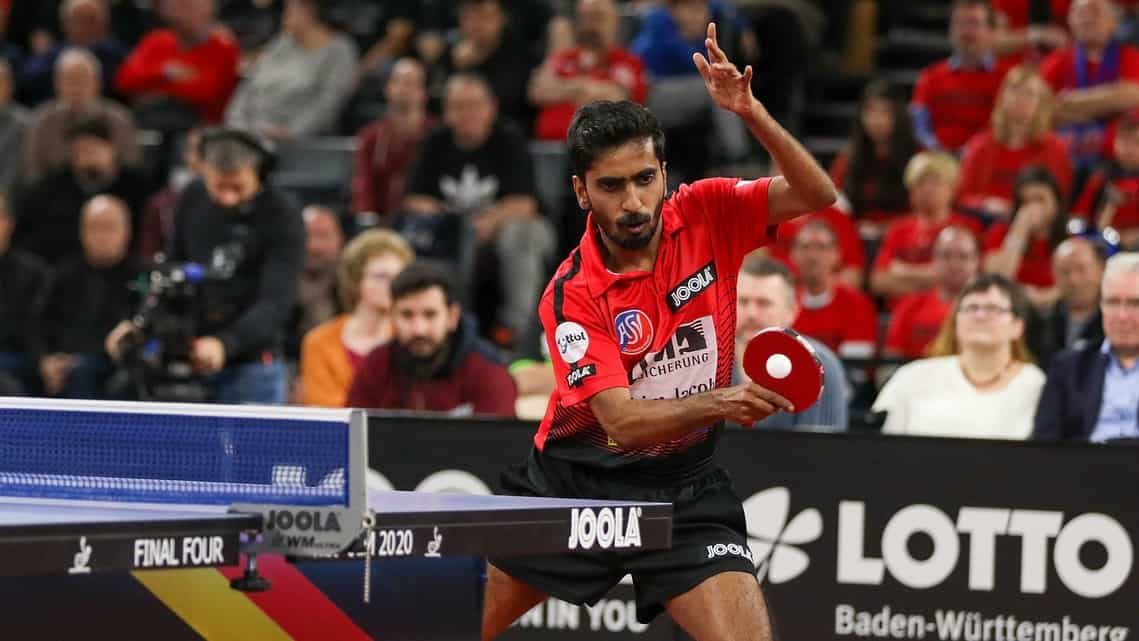G Sathiyan at the Liebherr Table Tennis Cup Final 2020 in Germany.