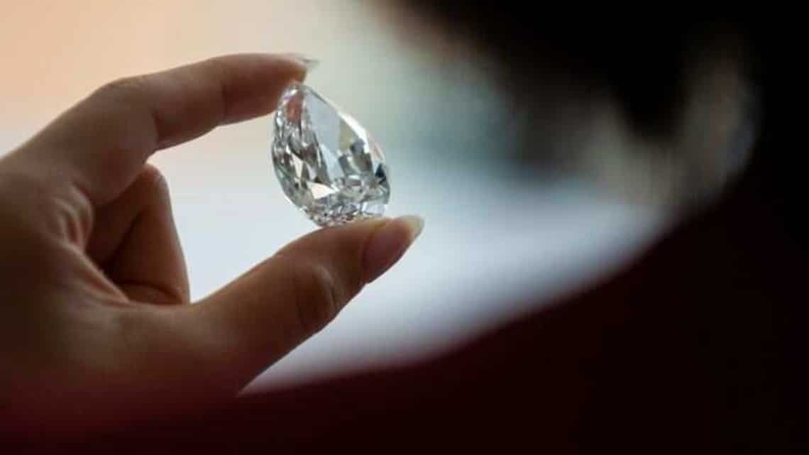 The rare pear-shaped D colour flawless diamond at Sotheby's in New York City,